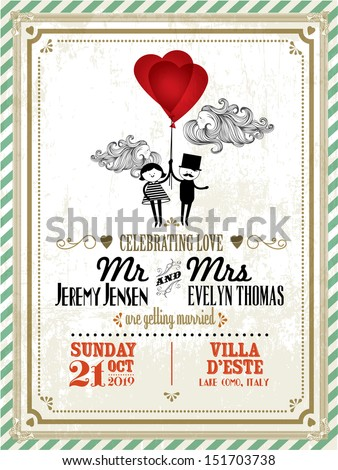 Vintage wedding invitation card template boy stock vector royalty vintage wedding invitation card template with boy and girl holding balloons vectorillustration stopboris Choice Image