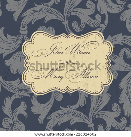 Vintage wedding invitation card. Vector