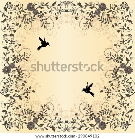Vintage wedding invitation card with floral design - stock vector