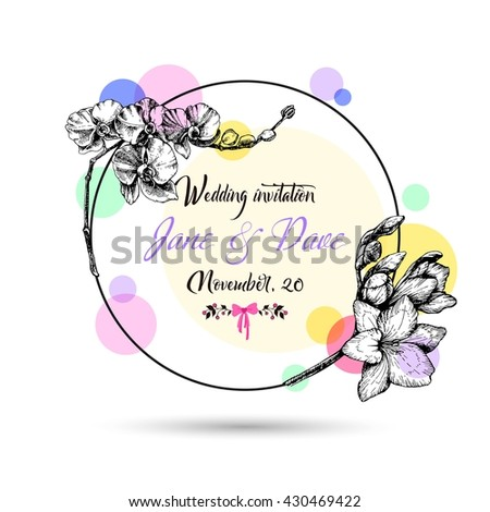 Vintage wedding invitation card with hand drawn flowers. Wedding vector card with orchid and freesia flowers. Vector EPS 10. - stock vector