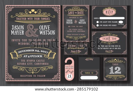 Vintage wedding invitation chalkboard design sets include Invitation card, Save the date, RSVP card, Thank you card, Table number, Gift tags, Place cards, Respond card, Save the date door hanger - stock vector