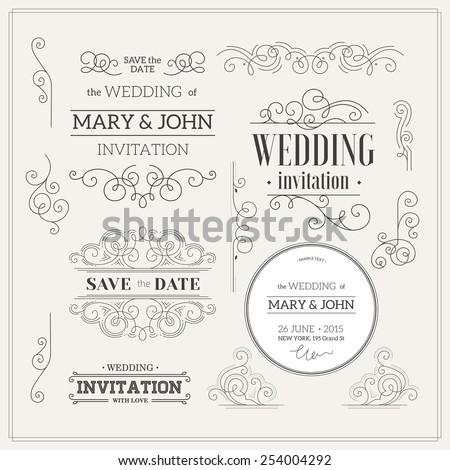 Vintage Wedding invitation design kit. Elements, ornaments, badges. Vector illustration. - stock vector