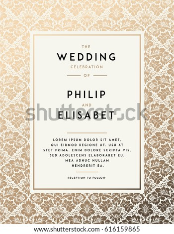 Vintage wedding invitation design template damask stock vector vintage wedding invitation design template with damask background tradition decoration for wedding vector illustration stopboris Image collections