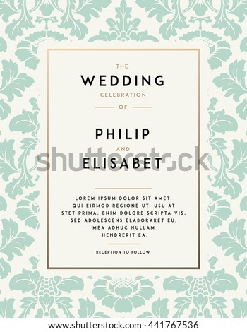 Vintage Wedding Invitation template. Modern design. Wedding Invitation design with damask background. Tradition decoration for wedding. Vector illustration - stock vector