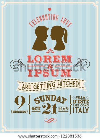 vintage wedding invitation template vector/illustration with cameo - stock vector