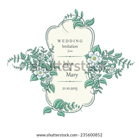 Vintage wedding invitation with an old style border and white flowers. Vector floral ornament frame isolated on white. - stock vector