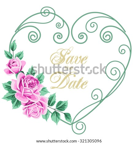 Vintage wedding invitation with roses. Invitation template with floral curling heart shaped wreath. Save the date design. Vector illustration - stock vector