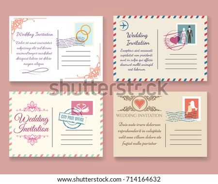 vintage wedding postcard vector templates old stock vector royalty