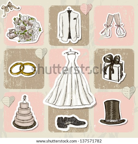 Vintage wedding poster. Vector illustration EPS10 - stock vector