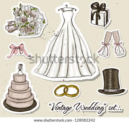 Vintage wedding set. Vector illustration EPS10 - stock vector