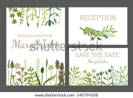 Vintage wedding set flowers herbs perfect stock vector 540794308 vintage wedding set with flowers and herbs perfect for wedding invitation save the date stopboris Images