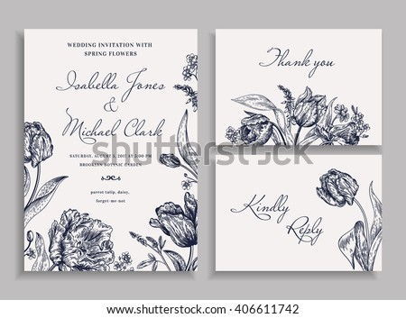 Vintage wedding set with spring flowers in the bohemian style. Wedding invitation, thank you card. RSVP card. Parrot tulips, daisies, forget-me. Botany. Vector illustration. Black and white. - stock vector