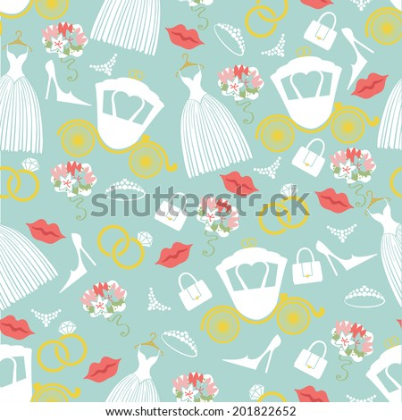 Vintage wedding symbols in seamless pattern set.Wedding bridal dress,lips, handbags,shoe,perls, ring,flowers  in Flat Design.Bridal shower.Used for packaging, fabric, wallpaper, background. Vector - stock vector