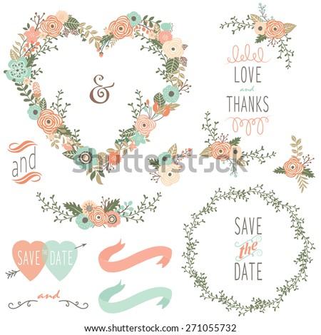 Vintage Wedding Wreath Elements - stock vector