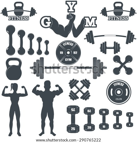 Vintage Weight Lifting Labels and Stickers. Gym logotypes - stock vector