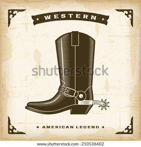 Vintage Western Cowboy Boot. Editable EPS10 vector illustration. - stock vector