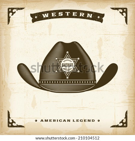 Vintage Western Sheriff Hat. Editable EPS10 vector illustration. - stock vector