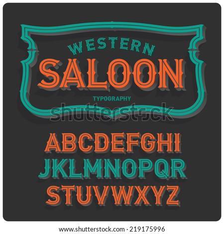 Vintage western style volume font with emblem frame. Dark background. - stock vector