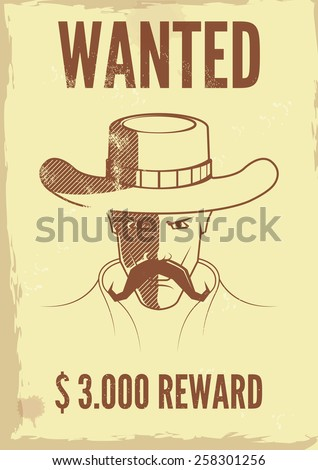 Vintage western wanted poster. - stock vector