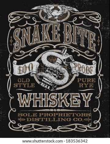 Vintage Whiskey Label T-shirt Graphic - stock vector