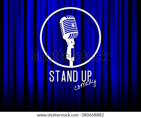 Vintage white silhouette microphone icon against blue curtain backdrop. mic on empty theatre stage, vector art image illustration. stand up comedian night show background. realistic retro design eps10 - stock vector