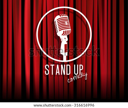 Vintage white silhouette microphone icon against red curtain backdrop. mic on empty theatre stage, vector art image illustration. stand up comedian night show background. realistic retro design eps10 - stock vector