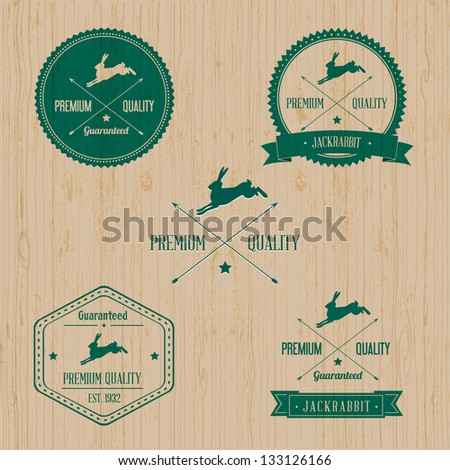 Vintage Wild Rabbit Badge set | Editable EPS vector illustration - stock vector