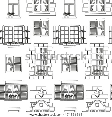 Vintage Window Seamless Pattern In Black And White
