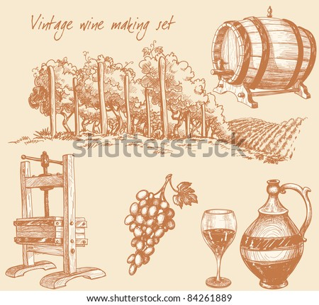 Vintage wine and wine making set - stock vector