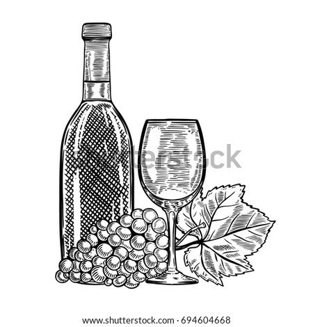 Vintage Wine Bottle With Grapes And Glass Design Elements For Menu Poster
