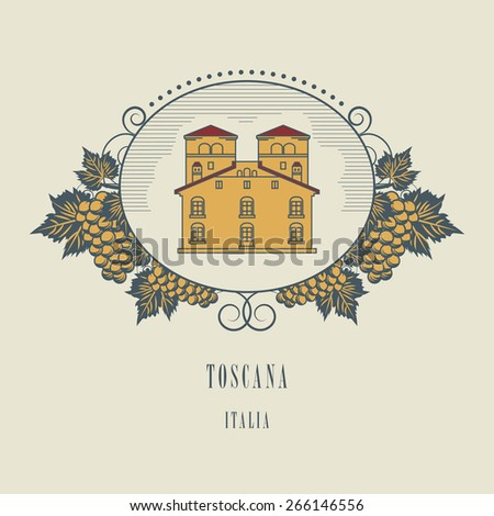 Vintage wine label, vector illustration - stock vector