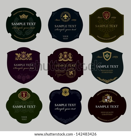 vintage wine labels - stock vector