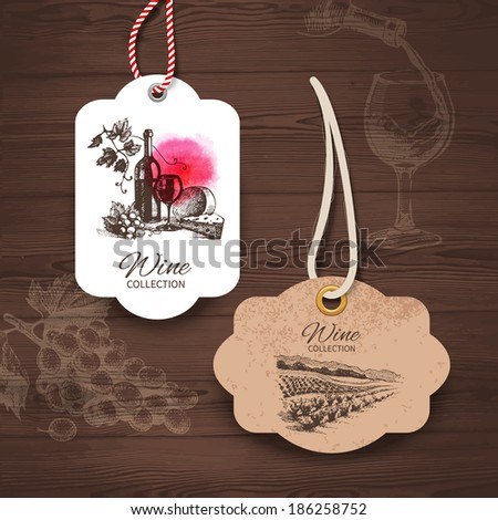 Vintage wine labels. Hand drawn illustrations. Wooden background with sketches