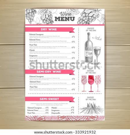 wine menu price list different wines stock vector 96490709 shutterstock. Black Bedroom Furniture Sets. Home Design Ideas