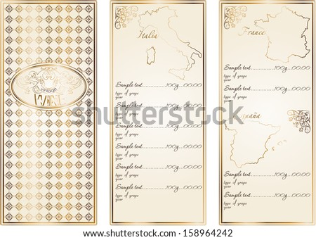 vintage wine menu with a price list of different wines (different countries) - stock vector