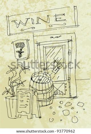 vintage wine shop - stock vector