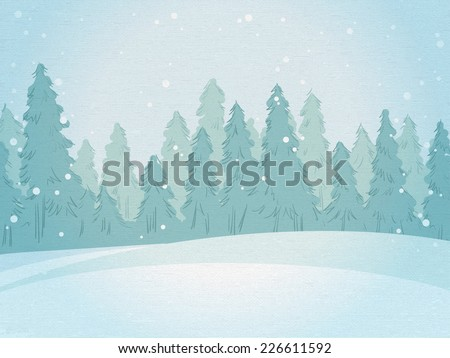 Vintage winter forest landscape. horizontal background. vector illustration