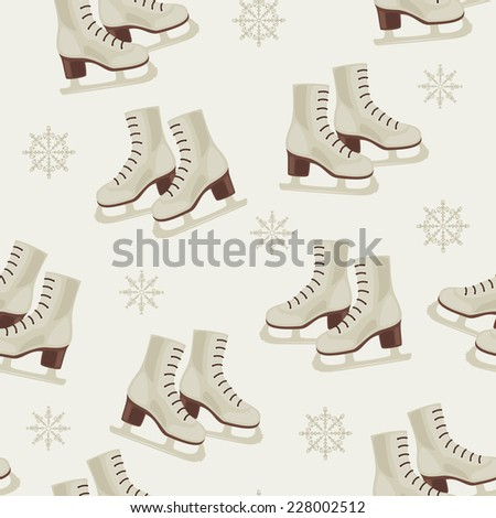Vintage winter wallpaper with skates