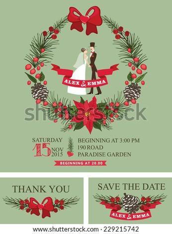 Vintage Winter Wedding Invitation Christmas Wreath Stock Vector - Christmas save the date template