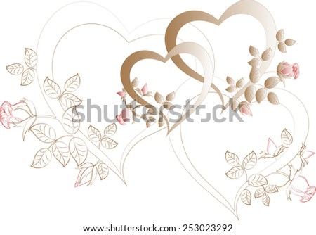 Vintage with beige hearts with rose buds. EPS10 vector illustration. - stock vector
