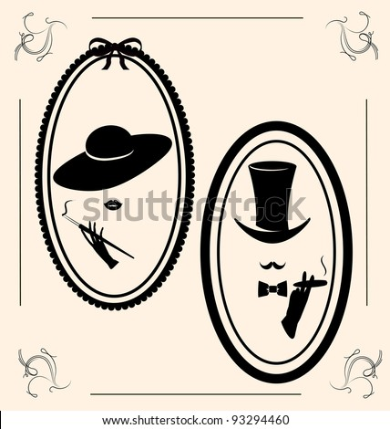 vintage woman's and man's image - stock vector