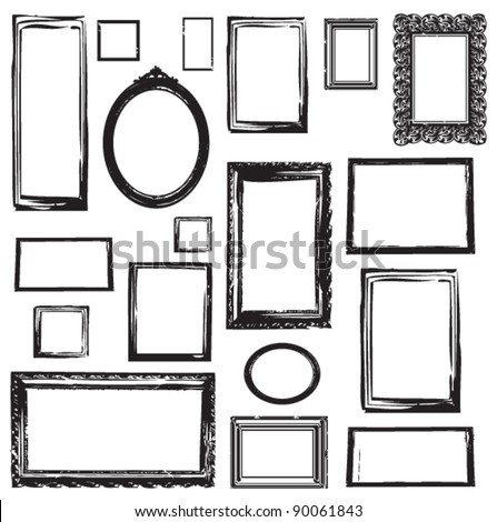 VINTAGE WOODEN FRAMES WALL GALLERY. Vector illustration. wall pattern and graphic elements. - stock vector