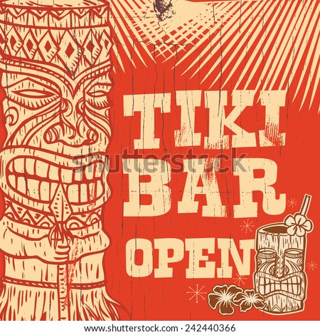 Vintage wooden sign - Tiki Bar Open, vector - stock vector