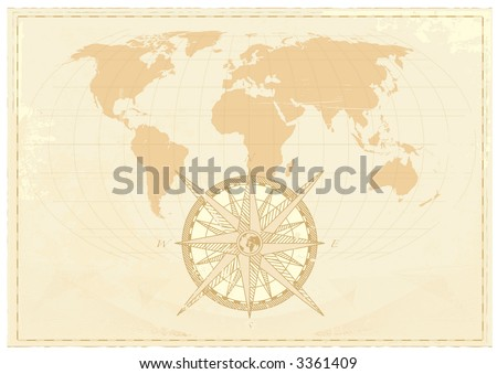 Vintage word map grunge background with retro compass. Vector illustration - stock vector