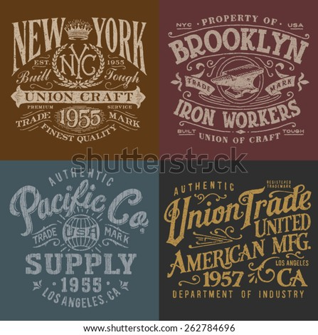 Vintage Workwear Graphics Set - stock vector