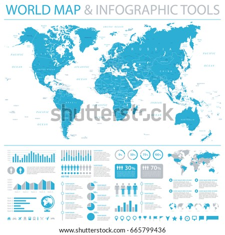 Vector set elements infographics world map vectores en stock vintage world map and infographic elements detailed vector illustration gumiabroncs Image collections