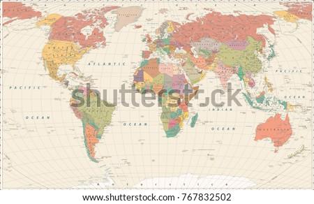 Vintage world map large detailed world vectores en stock 767832502 vintage world map large detailed world map vector illustration gumiabroncs Images