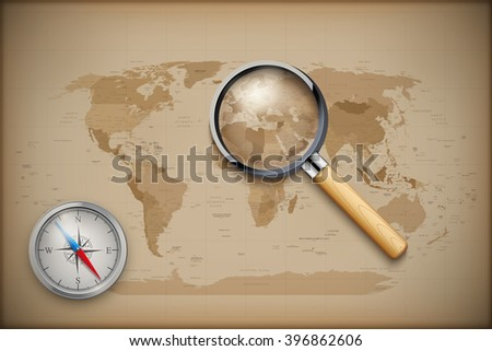 Vintage World Map with magnify and compass. Vector illustration - stock vector