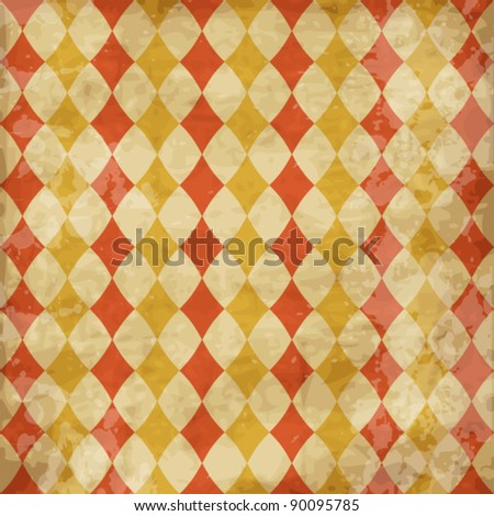 Vintage worn texture with rhombuses - stock vector