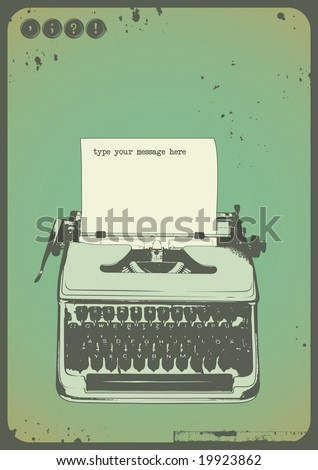 vintage writing background with oldfashioned typewriter and a blank sheet of paper - stock vector